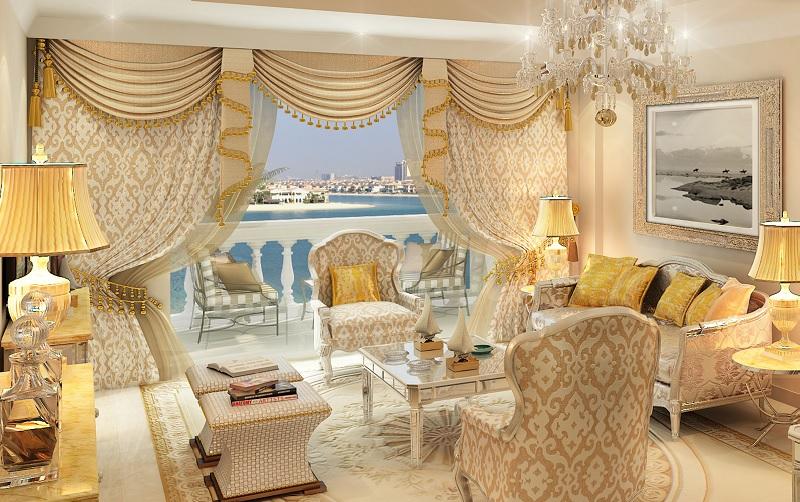 杜拜翡翠宮凱賓斯基酒店金碧輝煌的豪華客房。